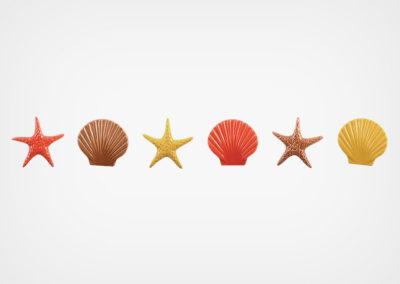 Starfish & Seashells – Step Marker – Red – 24×3